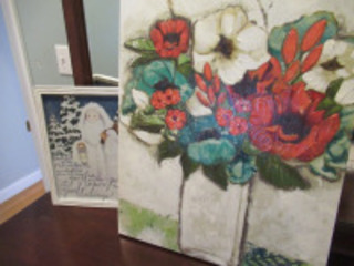 FLORAL CANVAS WALL HANGING - PICTURE IN FRAME -BR1