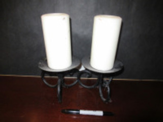 2 METAL CANDLE HOLDERS WITH CANDLES - (BR1)