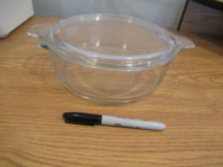 GLASS PYREX CASSEROLE DISH - (LR)