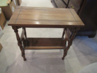 SMALL WOODEN MAGAZINE RACK TABLE - (BR1)