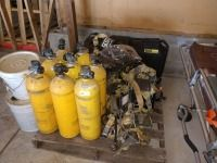 SET OF EIGHT METAL STYLE AIR TANK S AND SCOTT AIR PACK TANK HOLDER AND MASK