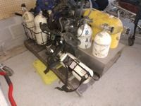 VARIOUS AIR TANKS AND MASKS, SURVIVOR AIR BRAND, APPROXIMATELY 11 TANKS, CONDITION UNKNOWN