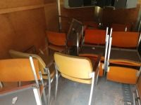 SET OF 14 OFFICE CHAIRS, TWO ARE MUSTARD COLOR AND 12 ARE ORANGE COLOR, BOTH ARE METAL FRAME