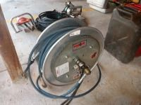 AMKUS AIR HOSE REEL, WITH AIR HOSE, REEL IS APPROXIMATELY 19 IN