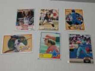 SET OF SIX RANDOM CARDS TO INCLUDE GEORGE BRETT, PETE ROSE, AND OTHERS