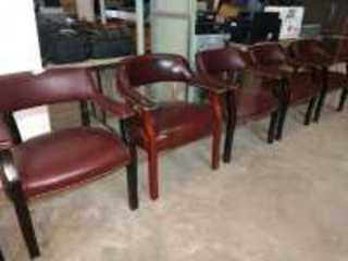 SET OF FIVE NAUGAHYDE TYPE OFFICE CHAIRS, GOOD CONDITION