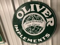 Round Oliver implement sign