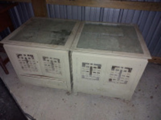 (2) oriental end tables w/ carved tops
