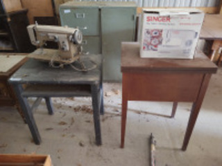 Primitive school desk, (2) sewing machines & sewing table