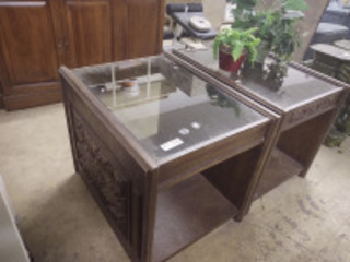 (2) glass top end tables