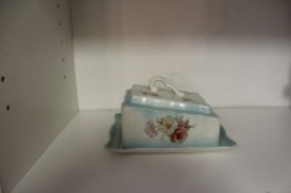 ANTIQUE HAND-PAINTED COVERED BUTTER DISH OLD FOLEY