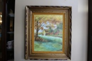 VINTAGE PAINTING ON CANVAS NICELY FRAMED COUNTRY SCENE SIGNED LAWRENCE