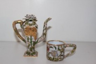 DECORATIVE CLOISONNE PITCHER AND MATCHING CUP