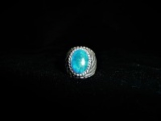 STERLING RING WITH BEAUTIFUL BLUE STONE