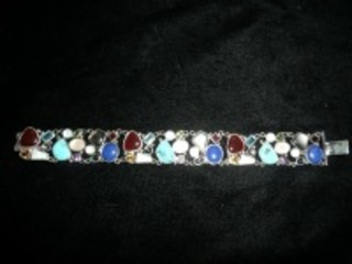 BEAUTIFUL STERLING SILVER BRACELET WITH MULTICOLORED GEMSTONES