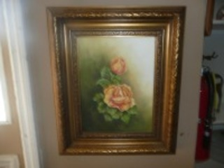 NICE LEAF FRAMED PAINTING ON CANVAS OF ROSES SIGNED BY VERNA