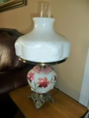 ANTIQUE HURRICANE STYLE HAND-PAINTED THE LAMP