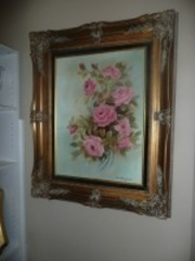 NICELY FRAMED VINTAGE PAINTING ON CANVAS SIGNED BY PAT MERRIFIELD