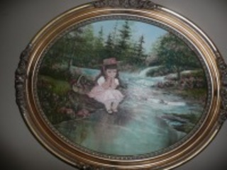 PRETTY ROUND NICELY FRAMED PAINTING ON CANVAS OF LITTLE GIRL SIGNED LAWRENCE