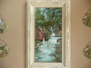 VERY NICE PAINTING ON CANVAS FRAMED OF A COUNTRY SCENE SIGNED BY LAWRENCE