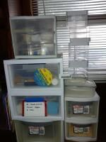 Plastic Storage Containers With Craft and Scrapbook Supplies