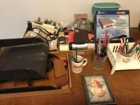 Office Items incl Adding Machine  Paper Organizers and Netgear Router