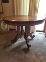Round wood dining table 42in