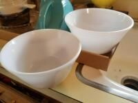 White bowls  other bowls  pitcher  not marked  canisters  Pyrex