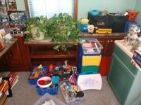 EXTREMELY LARGE LOT OF KIDS TOYS, ALL IN AREA AT THE END OF THE ROOM AND ON FLOOR, LIVE PLANTS NOT INCLUDED