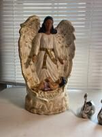 Music Box Angel and Pair of Swan Candle Holders