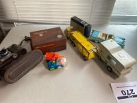 Assortment of Vintage Toys, Antique Camera, Etc.