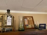 Assortment of Misc. Items Including Liquor Bottle, Glass Vase, Etc.