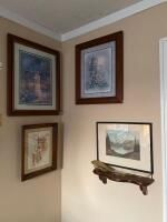 4 Pieces of Wall Art and Shelf