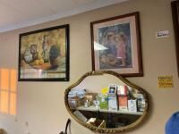 Hanging Mirror and 2 Pieces of Wall Art