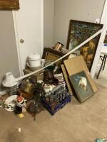 Salvage Lot Including Wall Art, Lamps, Glassware, Etc. Buyer Responsible for Removal