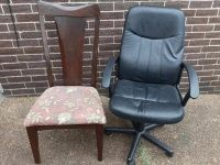 Wooden Dining Chair and Rolling Office Chair