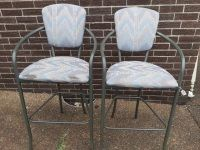 Pair of Barstool Height Metal Chairs with cushioned seat