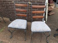 Pair of Metal Chairs with Cushioned Seat