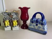 Assortment of Glassware Including Vase, Ceramic Purse, and Circus Elephant