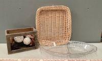 Baskets and Plastic Platter