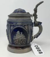 Glazed Stoneware 1/4 Liter Pewter Lidded Stein