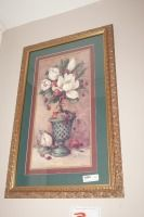 FRAMED, MATTED, AND SIGNED FLORAL ART PRINT - USHALL