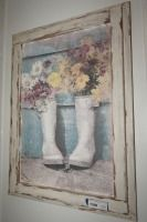 COUNTRY CHIC ART PRINT ON CANVAS IN SHABBY CHIC WOOD FRAME - USBR2