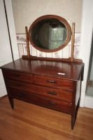VINTAGE DRESSER WITH TILTING OVAL BEVELED GLASS MIRROR - USBR3