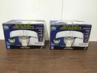 (2) NEW Home Zone ES00618G Mark 3 LED Outdoor Flood Security Light with Motion Sensor, 2500 Lumens, 35 Watts, White