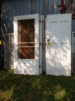 4 antique wooden screen doors and 4 old painted house doors, storm windows for the screen doors - various sizes