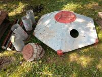 Here you go chicken fans - baby chick brooder, five hog pans, two chicken feeders and four circular hanging chicken self feeders