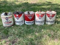 Qty 5 of 5 gallon Skelly tagolene-HD motor oil  cans