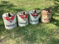 Qty 4 of 5 gallon Skelly tagolene-HD motor oil  cans