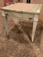 "Distressed farmhouse inspired end table measures 22"" L x 26"" W 21.5"" H"